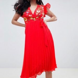 Embroidered and pleated red Asos dress